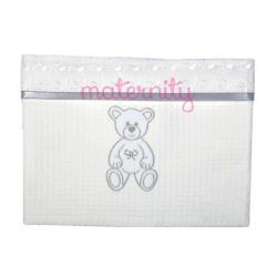 Κουβέρτα Baby Star Μπροντερί λευκό πικέ με φάσα 75 x 100cm
