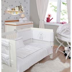 Σετ κούνιας Μπροντερί λευκό Πάπλωμα - Πάντα - Κουνουπιέρα Baby Star