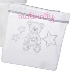 Κουβέρτα Baby Star πικέ Μπροντερί λευκό με φάσα 100 x 150cm
