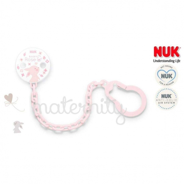 NUK Rose Baby Pink Bunny Soother Chain