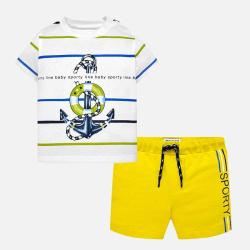 Σετ μπλούζα και σορτς ριγέ κίτρινο Mayoral 01643-89