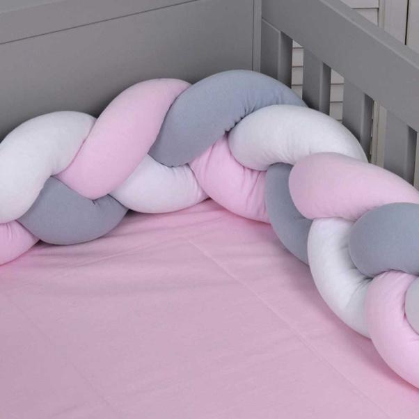 Πάντα πλεξούδα ζέρσεϊ Baby Oliver λευκό-γκρι-ροζ 200x18cm