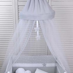 Κουνουπιέρα στρογγυλή Baby Oliver Muslin Grey 180x550