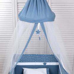 Κουνουπιέρα στρογγυλή Baby Oliver Muslin μπλε 180x550