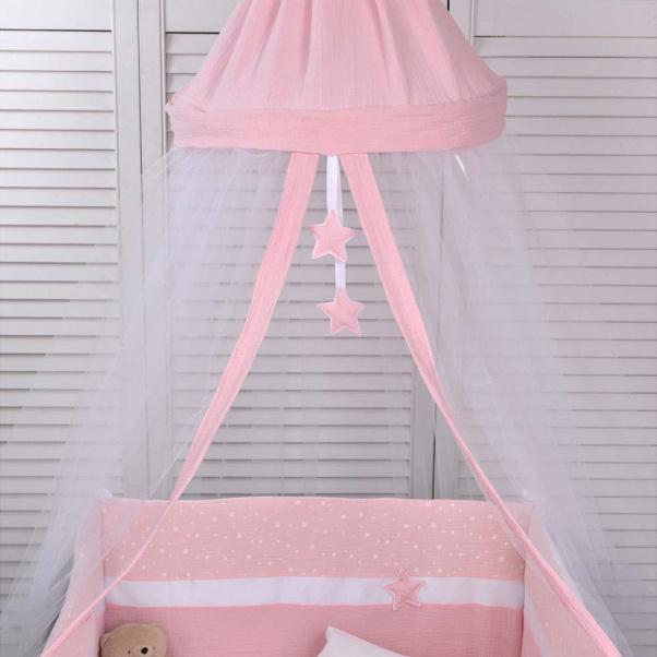 Κουνουπιέρα στρογγυλή Baby Oliver Muslin ροζ 180x550