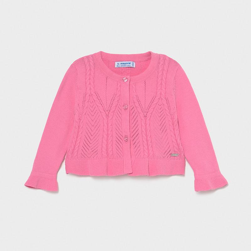 Παιδική ζακέτα πλεκτή Ecofriends για κορίτσι ροζ Mayoral 01335-21