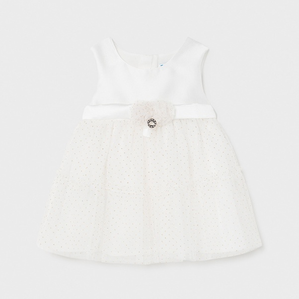 Φόρεμα παιδικό αμπιγιέ με τούλι εκρού Mayoral 01963-69