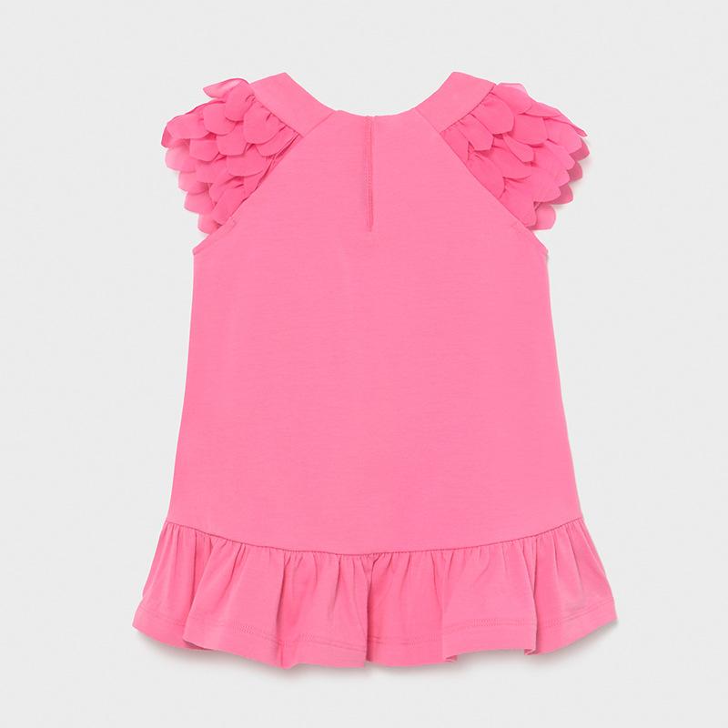 Φόρεμα παιδικό μακό με βολάν ροζ Mayoral 01975-18