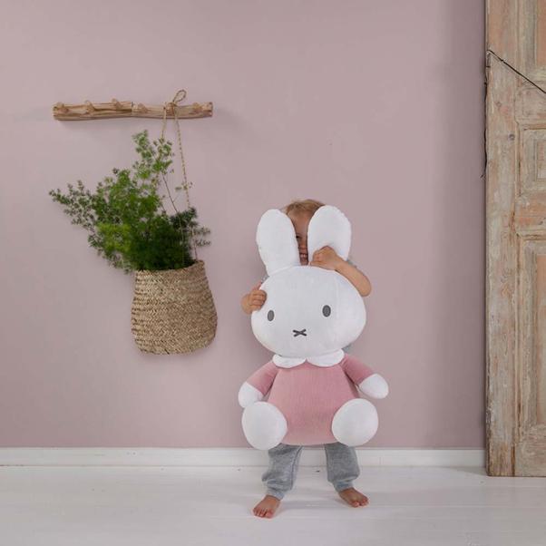Λούτρινο αρκουδάκι υφασμάτινο με εσωτερικό κουδουνάκι 60cm Μiffy pink