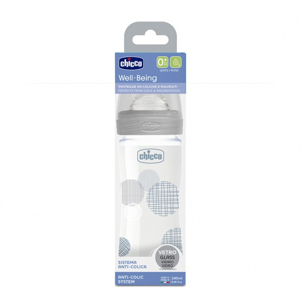 Chicco Well Being Slow Flow Glass Feeding Bottle 240ml - grey