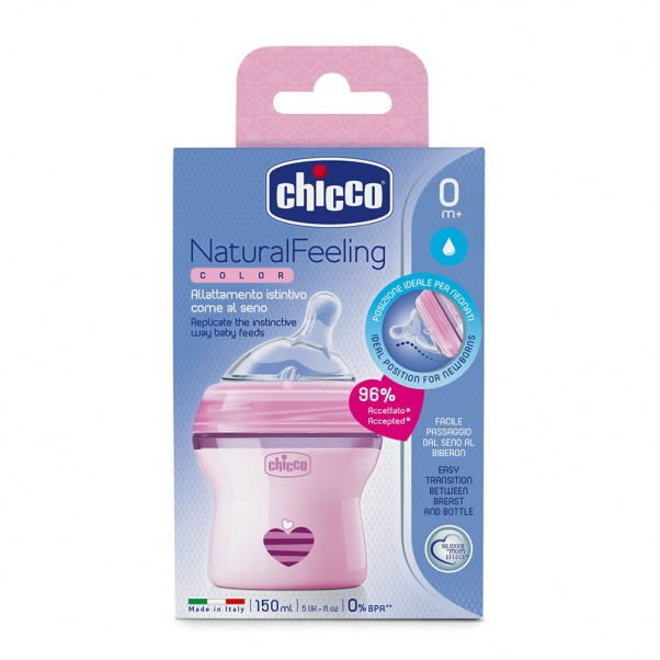 Chicco Natural Feeling Plastic Bottle with Silicone Nipple 150 ml - natural flow - Pink