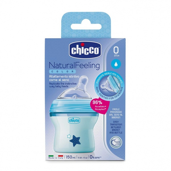 Chicco Natural Feeling Plastic Bottle with Silicone Nipple 150 ml - Natural Flow - Light Blue