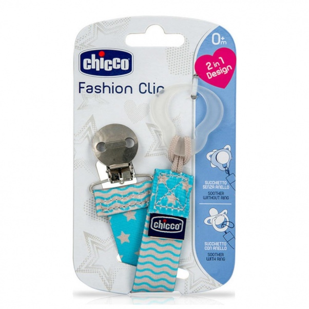 Chicco Ribbon Soother-Clipper 2-in-1 0+M Blue Fashion