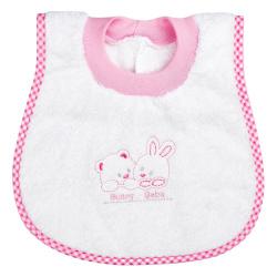 "Bunny bebe σαλιάρα πετσετέ ""ποδίτσα"" αρκουδάκια ροζ"