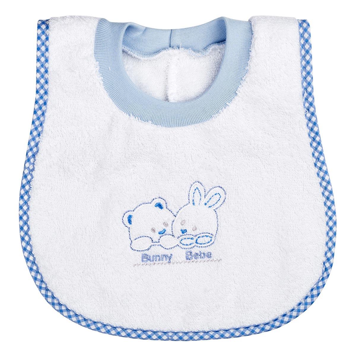 "Bunny bebe σαλιάρα πετσετέ ""ποδίτσα"" αρκουδάκια μπλέ"