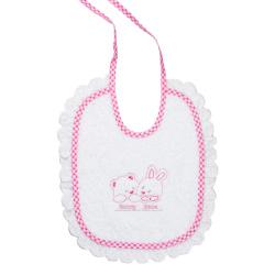 Bunny bebe σαλιάρα πετσετέ με ρέλι και δαντέλα αρκουδάκια ροζ