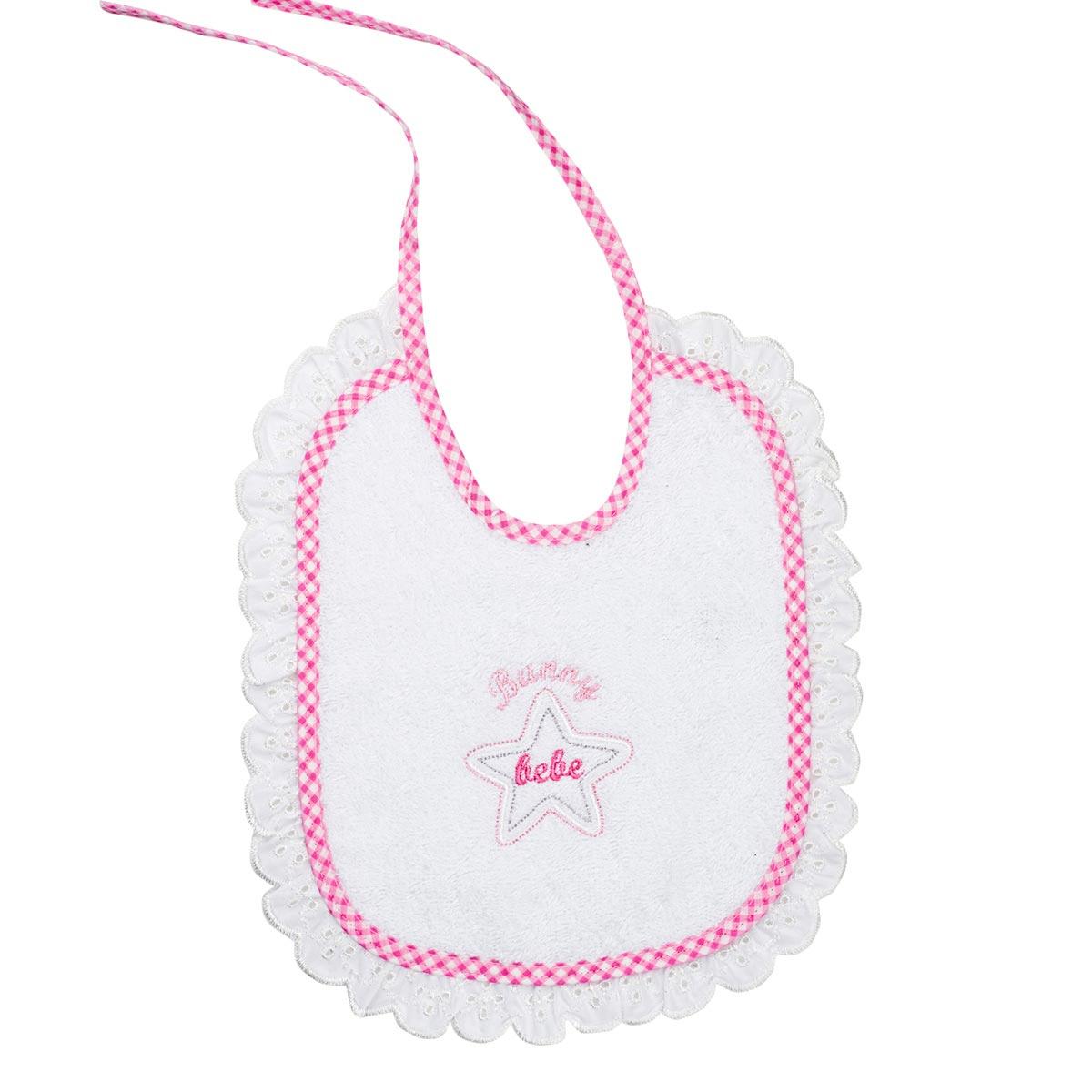 Bunny bebe σαλιάρα πετσετέ με ρέλι και δαντέλα αστεράκι ροζ