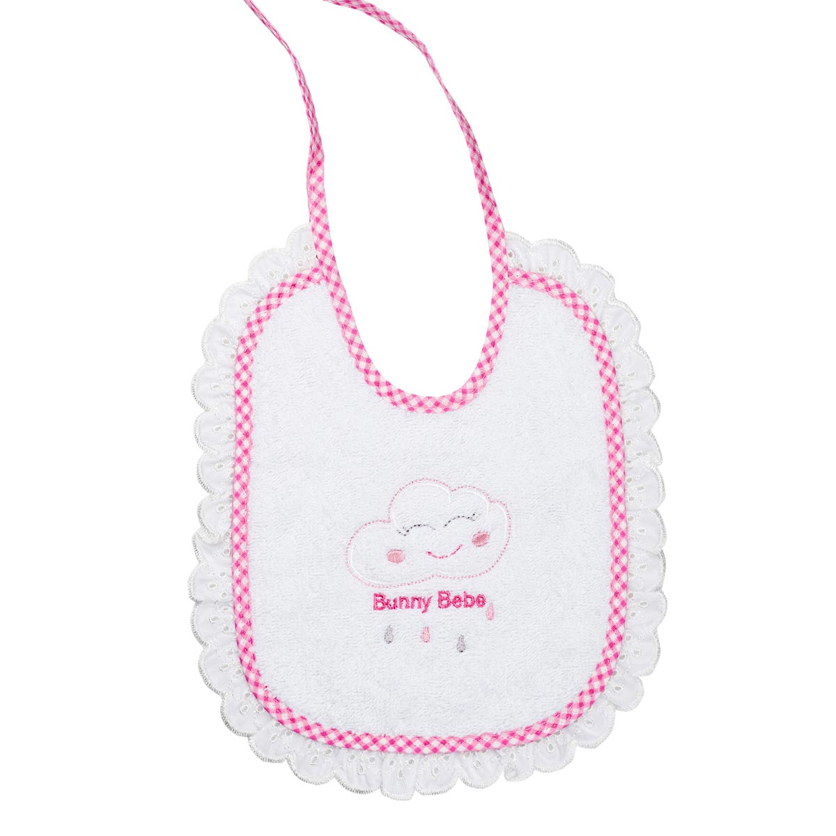 Bunny bebe σαλιάρα πετσετέ με ρέλι και δαντέλα συννεφάκι ροζ