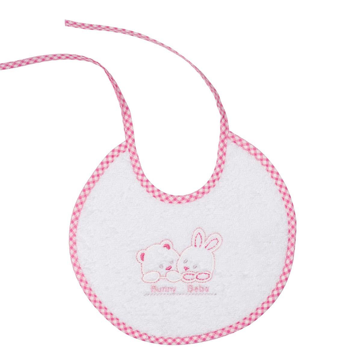 Bunny bebe σαλιάρα πετσετέ με ρέλι αρκουδάκια ροζ