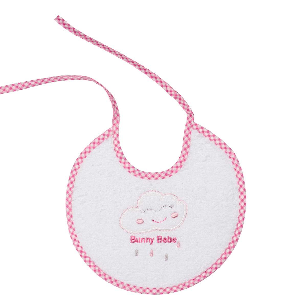 Bunny bebe σαλιάρα πετσετέ με ρέλι σύννεφο ροζ