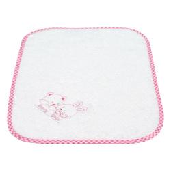Bunny bebe λαβέτα πετσετέ με κέντημα και ρέλι αρκουδάκια ροζ