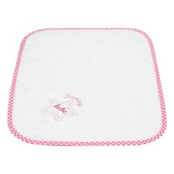 Bunny bebe λαβέτα πετσετέ με κέντημα και ρέλι αστεράκι ροζ