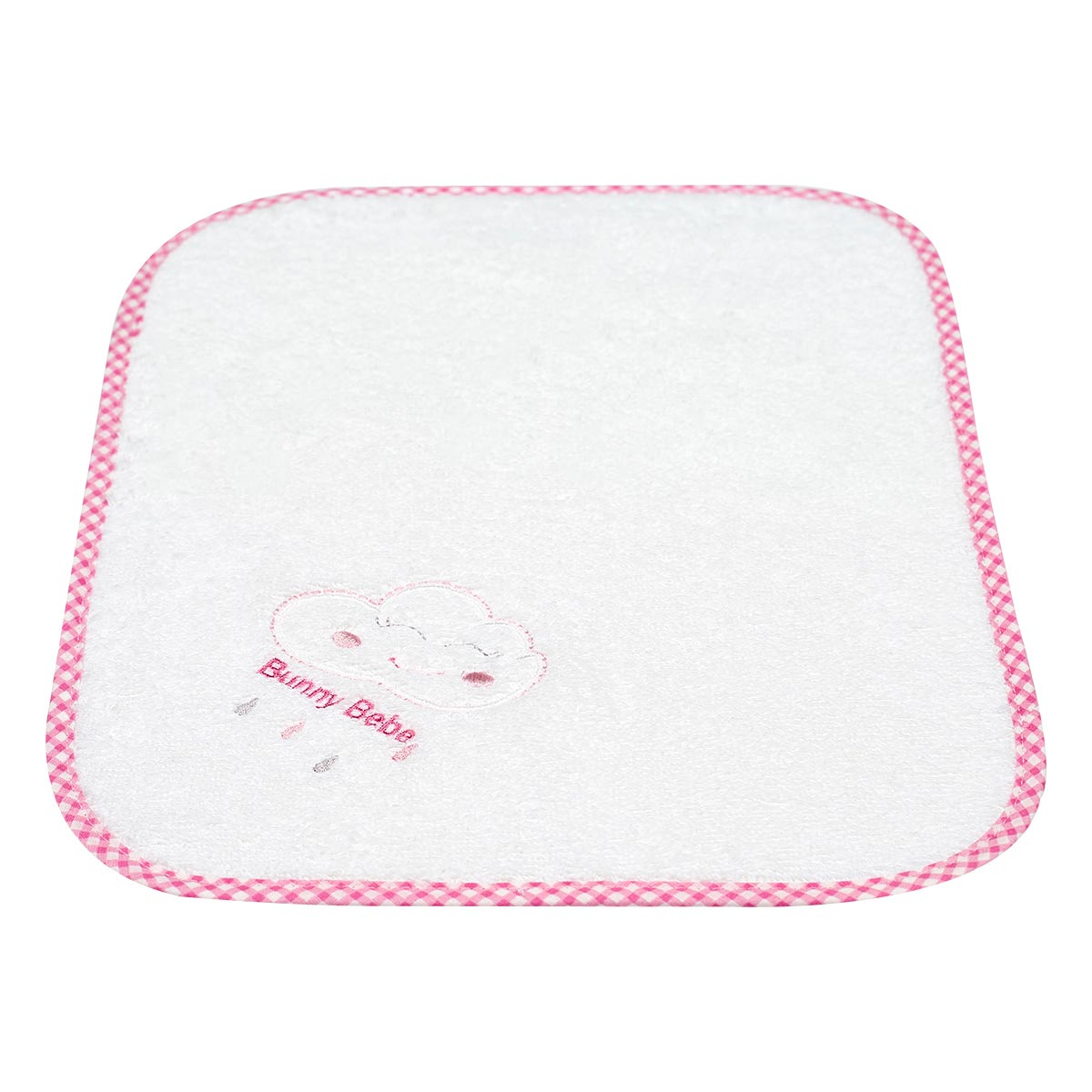 Bunny bebe λαβέτα πετσετέ με κέντημα και ρέλι σύννεφο ροζ