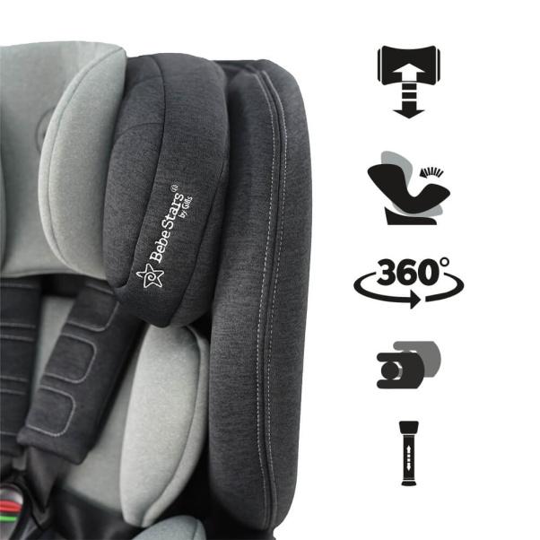Bebe Stars Car seat Megan i-Size 360° Grey 926-186