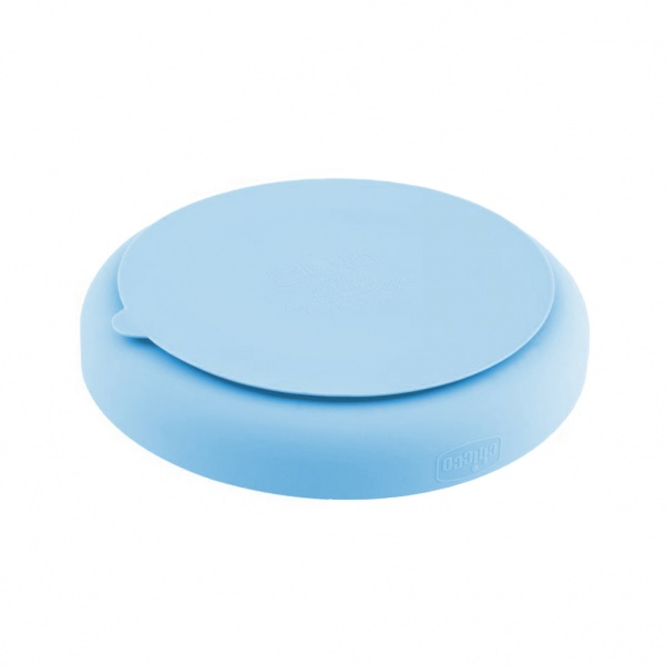 Chicco Easy Meal Silicone Portioned Plate - Weaning Plate for Baby 12m+ Light Blue