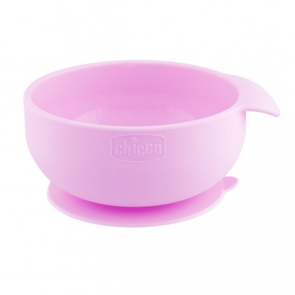 Chicco Easy Meal Silicone Suction Bowl - Baby Weaning Bowl - Pink
