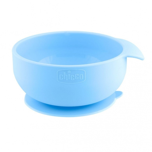 Chicco Easy Meal Silicone Suction Bowl - Baby Weaning Bowl - Light Blue