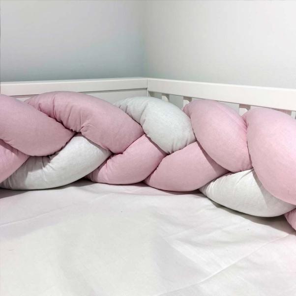 Abo Πάντα πλεξούδα Ροζ λευκό 2.10m