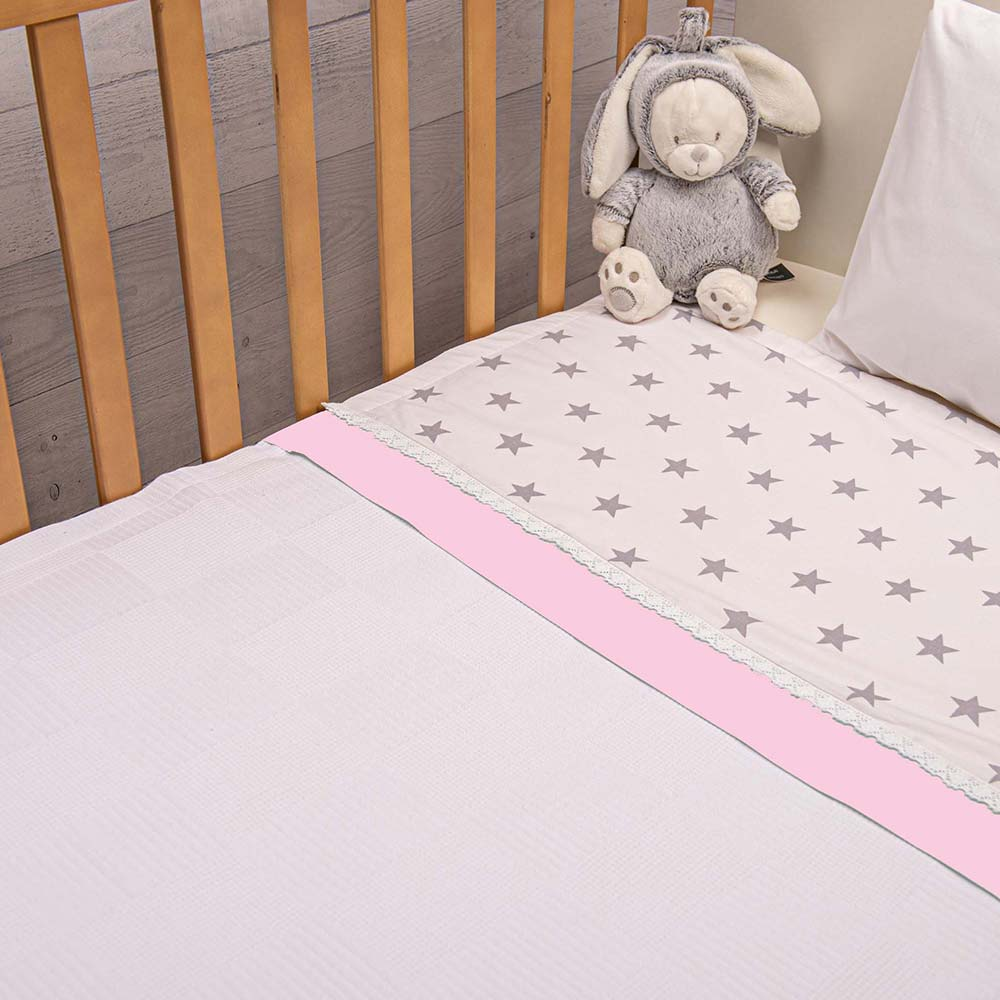 Abo Πικέ κουβέρτα 100*150 elephant ροζ