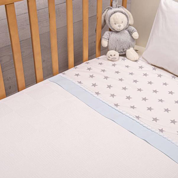 Abo Πικέ κουβέρτα 100x150 cm Elephant Σιέλ