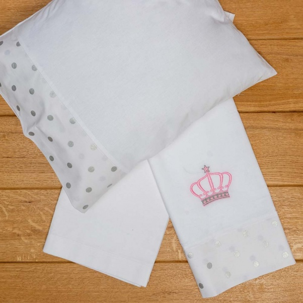 Abo Σετ Σεντόνια Καλαθούνας-Λίκνου 3τμχ Queens Crown Ροζ