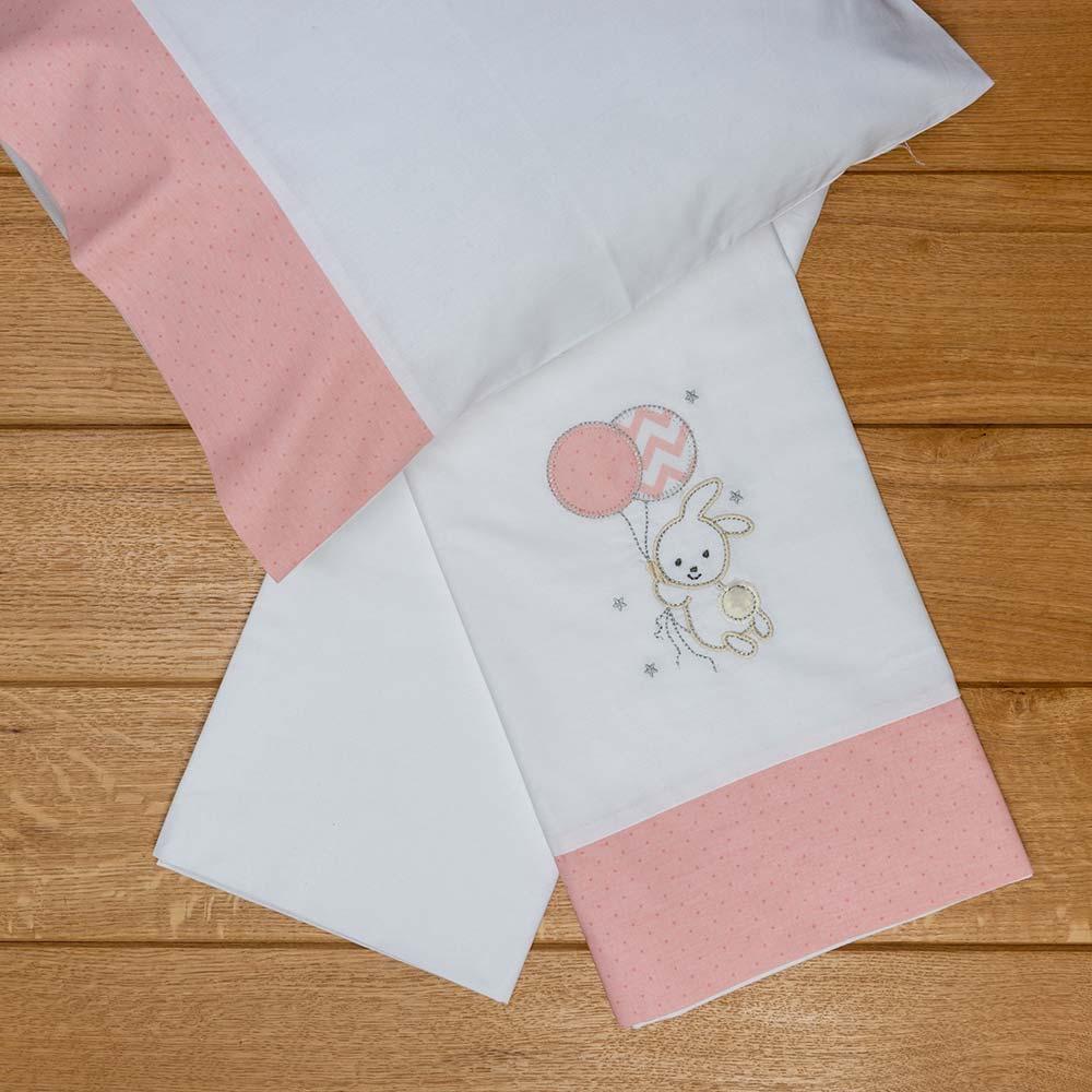 Abo Σετ σεντόνια καλαθούνας-λίκνου 3τμχ carot ροζ