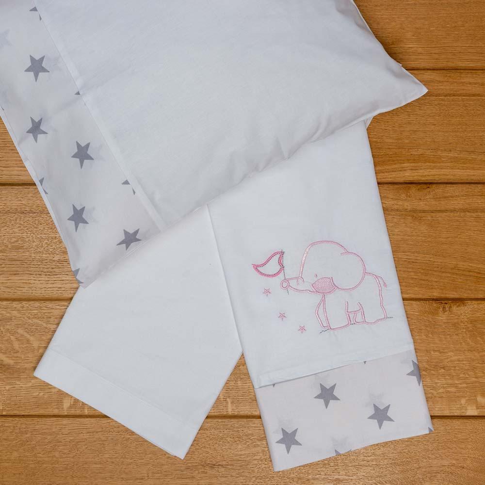 Abo Σετ σεντόνια καλαθούνας-λίκνου 3τμχ elephant ροζ