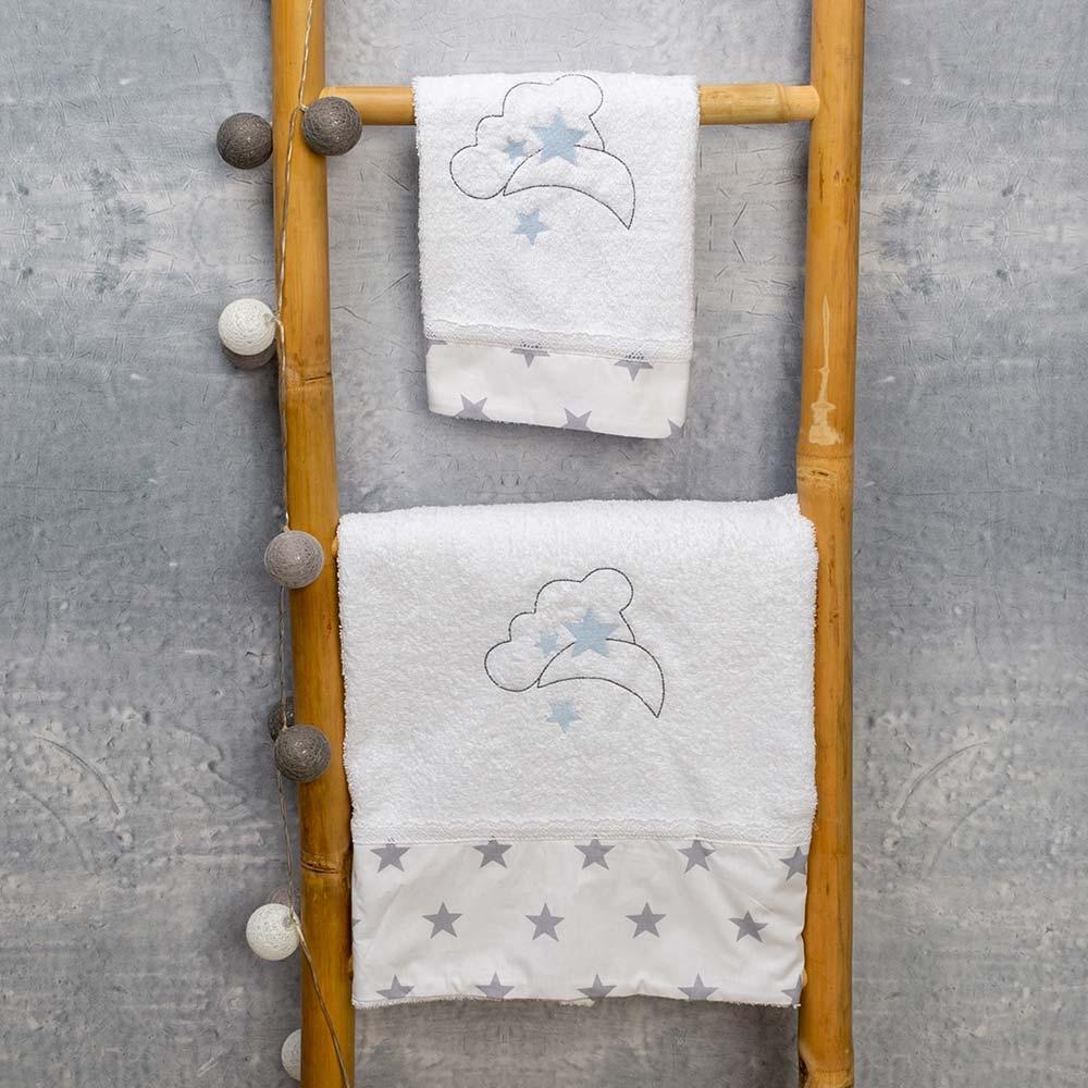 Abo Σετ πετσέτες 2 ΤΜΧ  moon μπλε