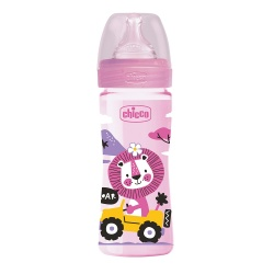 Chicco Well Being Plastic Baby Bottle with Medium Flow Silicone Nipple 250 ml Pink