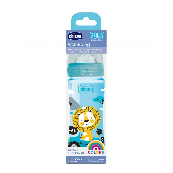 Chicco Well Being Plastic Baby Bottle with Medium Flow Silicone Nipple 250 ml Light Blue