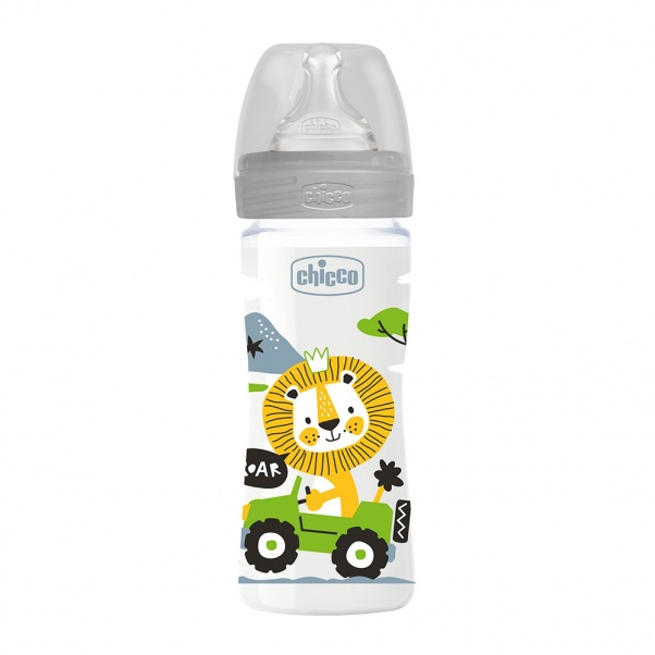 Chicco Well Being Plastic Baby Bottle with Medium Flow Silicone Nipple 250 ml